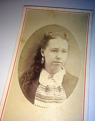 Antique Beautiful Victorian Woman W/ Fancy Earrings - Windsor, Vermont CDV Photo