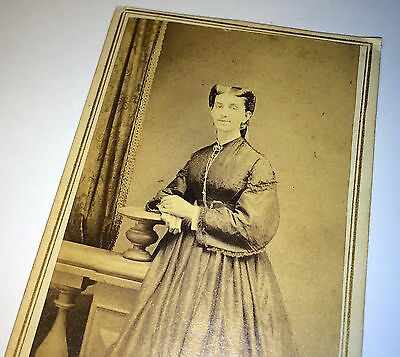 Antique Lovely Victorian Woman, Civil War Era Dress! Bowery, New York CDV Photo!
