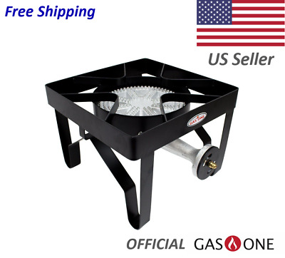 GAS ONE 200,000 BTU Square Heavy- Duty Single Burner Outdoor Stove Propane Gas