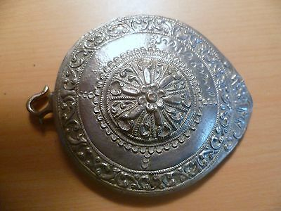 Ottoman Empire Antique  Single  Piece  Of Silver  Belt  Buckle Signed    .