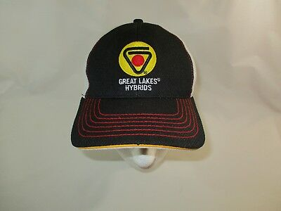 Great Lakes Hybrids Seed Black Yellow Patch Mesh Fitted Cap Hat K-Products OSFA