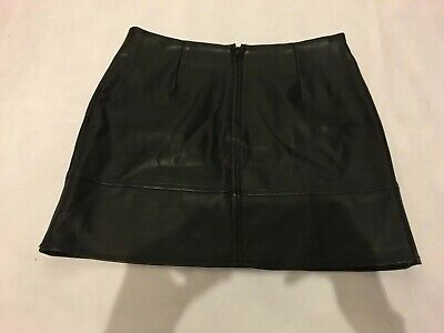 870b3b43f ASOS Faux Leather Pleather Black Mini Skirt Zip Back UK 8 EU 36 Party  Festival
