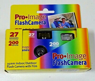 Single use flash camera with film, Pro Image 35 mm indoor/outdoor, 27 exposures