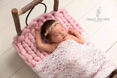 Baby Bed Chunky Baby Pink Merino Blanket Newborn Photography Prop Baby Basket