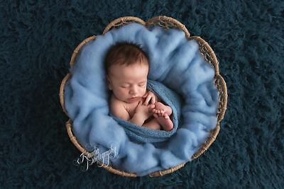 Baby blue Newborn Photo Prop Basket filler Wool Fluff Blanket Liner UK