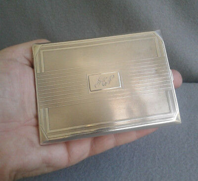 Charles S Green & Co 1933 English Sterling Silver Art Deco Cigarette Case 164.4g