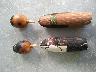 LOT X 2 VINTAGE 1950s WOODEN KOKESHI DOLLS MADE IN JAPAN