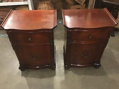 Pair Of Ornate Antique Pagoda Mahogany Nightstands