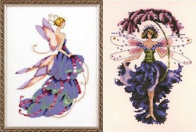 Set of 2 Pixies - Lady Slipper & Pansy - Cross Stitch Chart - Digital Format