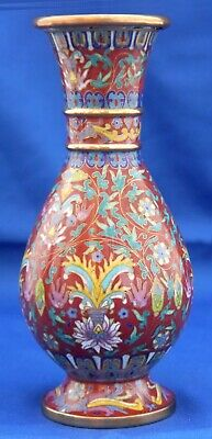 Antique Chinese Cloisonne Copper Red Vase. Fine & Ornate Ombre Florals, Borders