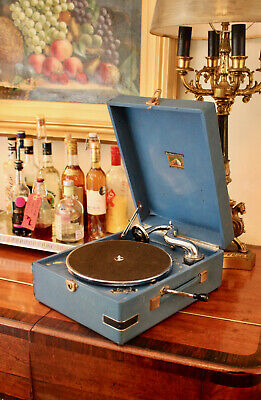 A Good Antique 1940s HMV 97B Gramophone in Blue, Lovely Bright Sound
