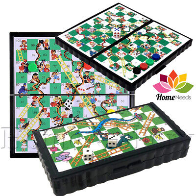 Snakes and Ladders Kids Games Mini Magnetic Plastic Travel Board Portable Pocket