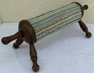 Wood Gout Stool vintage Rolling Pin style wooden fabric roller center foot rest