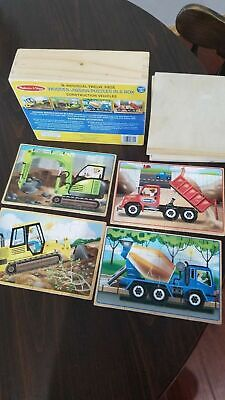 Melissa & Doug 4 Wooden 12 Piece Jigsaw Puzzles in a Box - Construction Vehicles