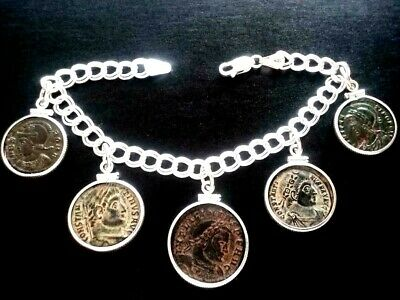 Authentic Ancient Roman Coin Charm Italy Bracelet Sterling Silver Desert Sand