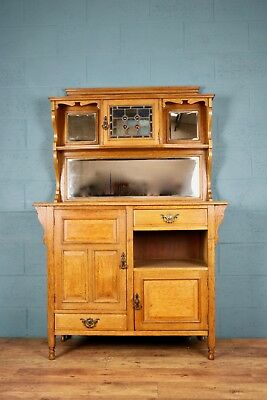 Arts and Crafts Glazed Oak Sideboard, stained glass, (100721)