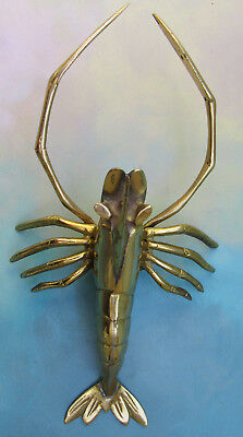 Vintage Mid Century Solid Brass Lobster Figure Sculpture Wall or Table Decor