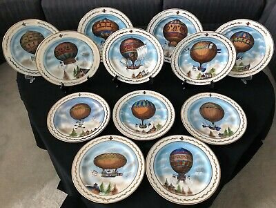 """Rare set of 12 antique Limoges hand painted hot air balloon plates 10.25"""" signed"""