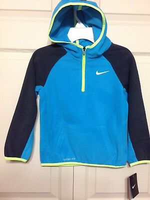 07199748c4 Nwt Boy's Nike Therma Fit Fleece 1/4 Zip Hoodie Size 6 Blue Lagoon 86A656