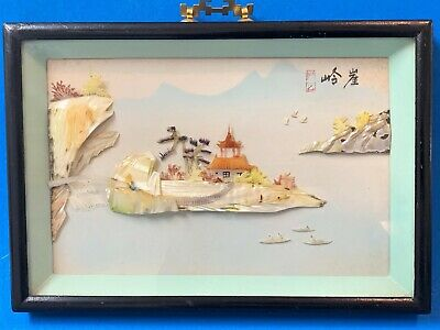 Oriental Box Framed Carved Mother of Pearl Diorama, Pagoda & Water Scene 26x18cm