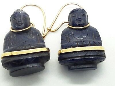 Antique Chinese Carved Lapis 14 KT Gold Buddha Earrings
