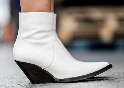 e1b522678b0 ZARA WOMAN NEW Collection Ss18 White Leather Cowboy Ankle Boots Sz 6 New