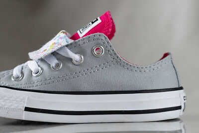 e6a6cd9eb8 CONVERSE ALL STAR Kids Girls Low-Top Double Tongue Shoes Size 12 ...
