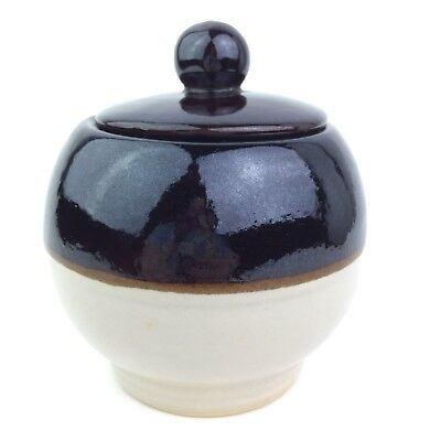 Vtg RRP Co Roseville Ohio Glazed Pottery Sugar Bowl With Lid Brown Cream USA