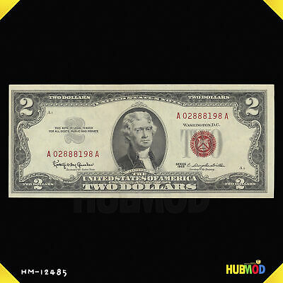 1963 Series $2 Two Dollar Bill United States Note A02888198A Red Seal
