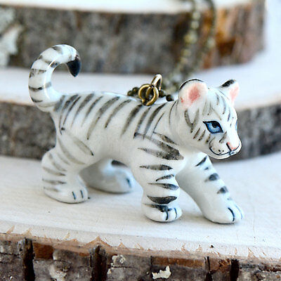 Hand Painted Porcelain White Tiger Necklace Antique Bronze Chain Ceramic Animal