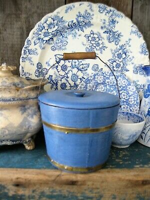 Small Early Antique Wood Bucket W Lid Blue Milk Paint Free Shipping