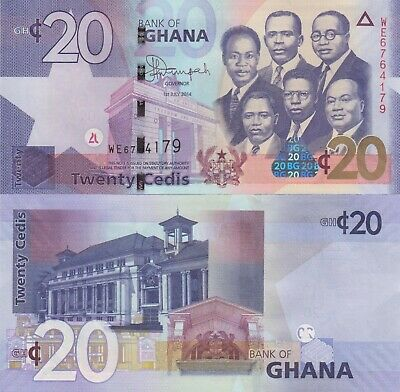 Ghana 20 Cedis (01.7.2014) - Big Six/Old Parliament/p40e UNC