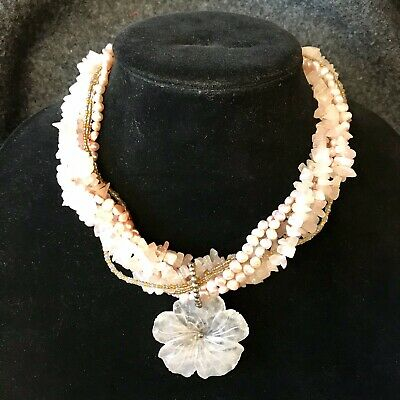 Vintage Estate Healing Rose Quartz Sterling Silver Multi-strand Flower Necklace