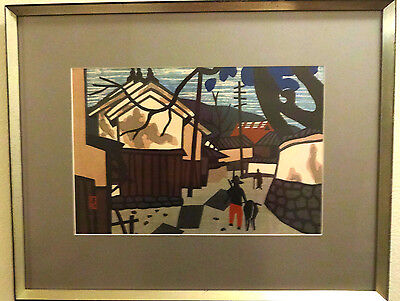 Japanese Art: Village Scene with Brown Hill by Kiyoshi Saito (signed & framed)
