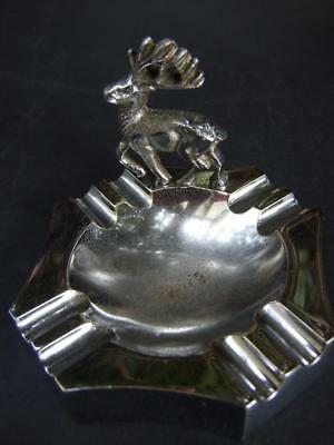 ANTIQUE ART DECO CHROME ASHTRAY w DEER FIGURINE 1930'S
