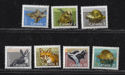 Canada — Set  of 7 Stamps — 1988-92, Mammal Issues #1155-1161 — MNH