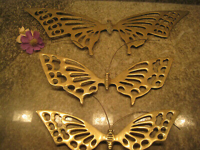 Vintage LOT OF (3)SOLID BRASS WALL HANGING BUTTERFLIES