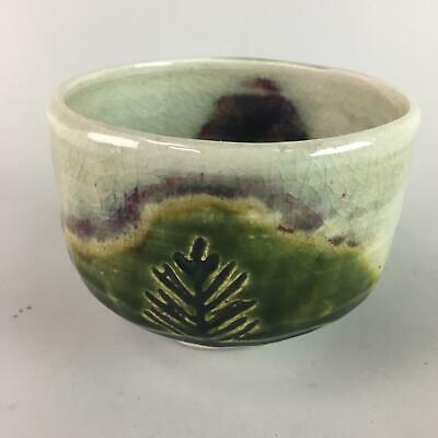 Japanese Ceramic Tea Ceremony Bowl Vtg Pottery Signed Crackle Chawan GTB488
