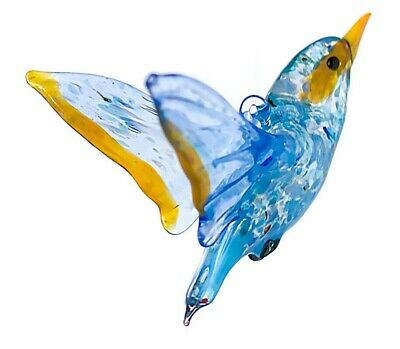 "Blue Orange Robin Figurine Blown Glass ""Murano"" Art Animal Bird Hung Miniature"