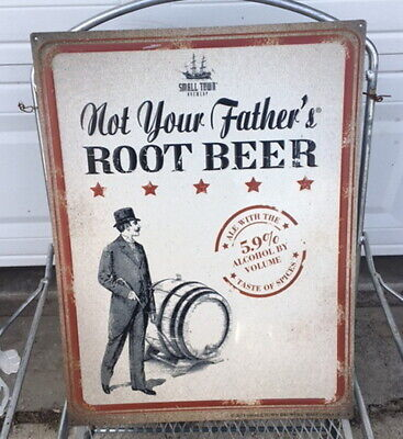 Not Your Fathers Root Beer Metal Tin Sign Tacker Small Town Brewery Bar Liquor