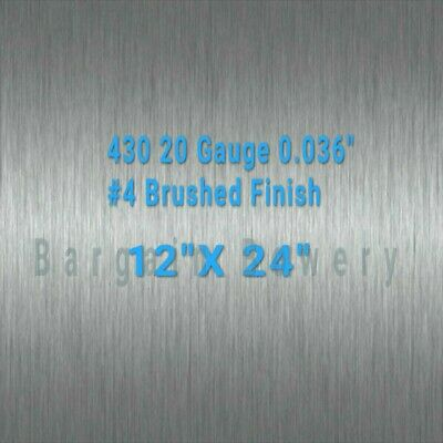 "430 Stainless Steel Sheet #4 Brushed 20 Gauge 0.036"" inch/0.91 mm 12"" x 24"" inch"