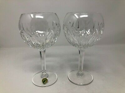 """Waterford Crystal Millennium Love Hearts Pair Balloon Wine Glasses 8"""""""