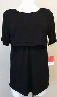 be67845fc2bc1 NEW A:GLOW Maternity Nursing Black Short Sleeve Knit Top Shirt Size Small  $30