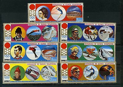 Equatorial Guinea 1972 Winter Olympic Games Sapporo Set Of 7 Stamps Mnh