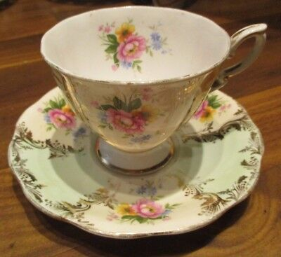Royal Standard Bone China England Cup And Saucer  Roses Gold leaf