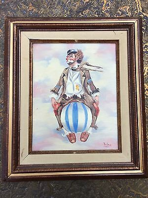 Original Oil Painting On Canvas  Clown  Signed Artist Palencia Framed