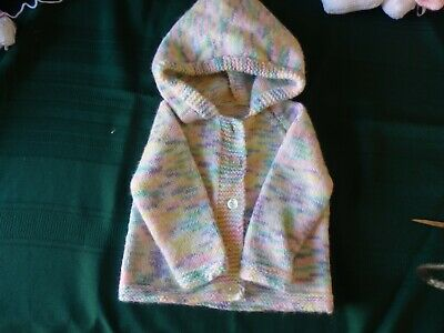 NEW - Hand knitted cardigan/hoodie - multicoloured - 0