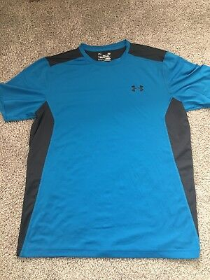 Under Armour Mens Heat Gear Blue and Black Short Sleeve Fitted Shirt Size L