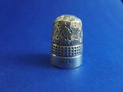 Antique English Sterling Silver Over Steel Thimble Charles Horner Dorcas Size 7