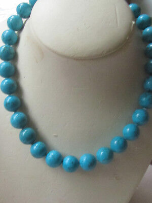 Turquoise/ AAAgrade/ choker,10mmrounds,29 pieces,silver Magnetic clasp/20 ins